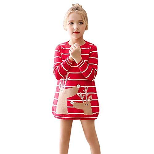 MRULIC Baby Mädchen Schöne Minikleid Baumwolle Warme Pullover Blusenkleid Winter Stricken Sweater Jumper Kleider Outfits Babysachen Für 1-6 Jahre altes Mädchen(A-Rot,Höhe:135-140CM) (Katze Kostüm 2 Jahre Alt)