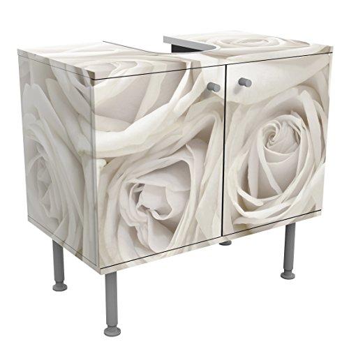 Armario para lavabo White Roses 60x55x35cm, pequeño, 60cm, ajustable, Mueble lavabo de diseño, lavamanos, armario para lavamanos, lavabo, armario inferior, baño, muebles de baño, Tamaño: 55cm x 60cm