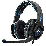 Empire Gaming auriculares Gamer 7.1multiplateforme Empire H1800Compatible PC sonido envolvente 7.1Virtual banda ajustable y regulable––Auriculares y micrófono flexible con Retro elclairage LED azul–color azul Diseño ultra Gamer–incluye software