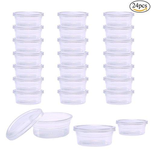 Pawaca Slime Aufbewahrungsbehälter, 24 Pack Wiederverwendbare Runde Kunststoffbox mit Deckel für 20g Schaumball, Weichen Lehm (Storage Container 24 X 24)
