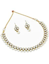 Homies International Earring Drop Kundan Necklace Set With White Pearls For Women