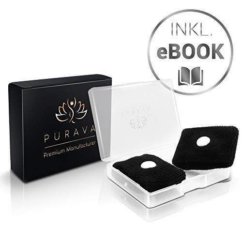 PURAVA® [2 Stück] Akupressur Armband - Selbstanpassendes Akupressurarmband gegen Übelkeit - Ideal für Schwangere und Reisende - Schnelles Wohlfühlen - Inklusive E-Book -