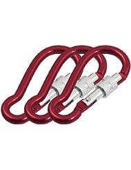 3 Unidades Rojo Aleación De Aluminio De Bloqueo Exterior Gancho De Mosquetón Llavero 7cm