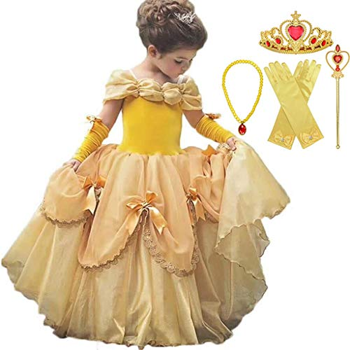 Kleid Kostüm Ball Belle - DMMDHR Halloween Baby Mädchen Schönheit und das Biest Kostüm Tüll Kinder Prinzessin Belle Party Kleid Halloween Geburtstag Mädchen Kleid Kleidung Sommer Kleid, 6 STÜCKE Kleid Set, 4 T