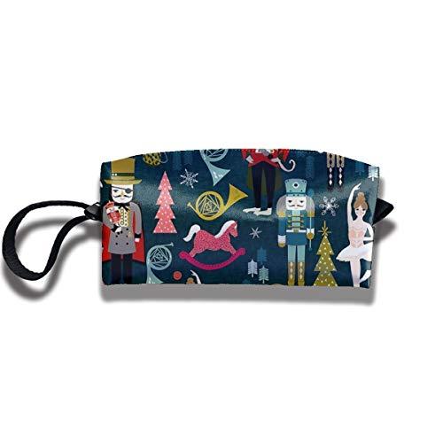 Doinh Nussknacker-Ballett von Andrea Lauren Kleine Kosmetiktasche Reisetasche mit Reißverschluss wasserdicht Aufbewahrungstasche tragbare Kosmetiktasche Pailletten Tasche für Mädchen -