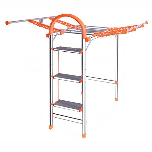 KJZ Falten der Leiter, Balkon Metall Leiter Indoor Wäscheständer Outdoor Tragbare Leiter Größe 125-160 CM (Farbe : Orange, größe : 35 * 94 * 125CM)