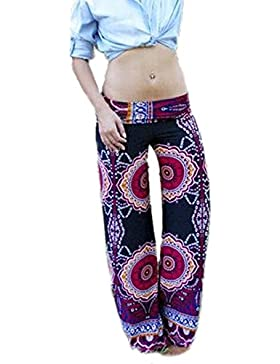 De las mujeres Floral impreso largo los pantalones recto informal
