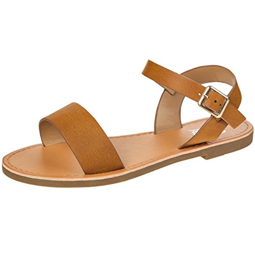 54957bd7c15 Women's Shoe Comfort Simple Basic Ankle Strap Flat Sandals (8.5, Chestnut)