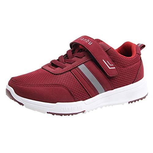 Sneakers mit Klettverschluss für Frauen/Dorical Damen Freizeitschuhe Leicht Walking Schuhe Turnschuhe Mesh Fitness Training Laufschuhe Sommer Atmungsaktiv Größe 36-41(Rot,40 EU)