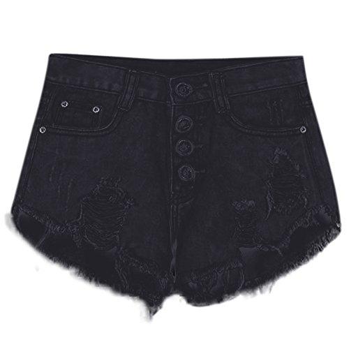 West See Damen Shorts Hot Pants Sommer kurz Hose Hoch Taille Hose Jean Strand Shorts Kurz Denim Bleistift (EU36-38, Schwarz) (Denim-shorts Schwarze)