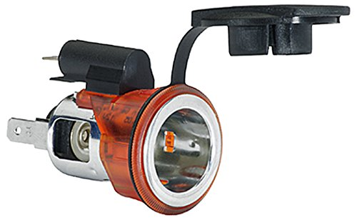 HELLA 8JB 008 023-031 Steckdose, Powersteckdose, 12 V, Flachsteckanschluss 6,3 mm, Einbau Ø 28,0 mm, mit Beleuchtung und Deckel
