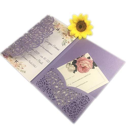 AOWEIRILUV 10 Stück Hohle weiße Rosen-Blumen-Hochzeits-Einladungs-Karte