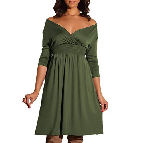 kingko® Damen 1/2-Ärmel Midi Kleid Verschiedene Strickkleid Tunika Kleid V-Ausschnitt Langarm Minikleid Schulterfrei Swing Party festlich (M, Army Green)