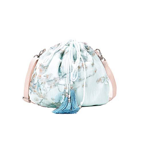 LMRYJQ Damen Tasche Klein Umhängetasche Frauen Joker Crossbody Mode One Shoulder Drawstring Dumplings Bag Brusttasche Wasserdichte Blau -