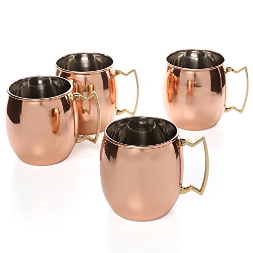 AIA Set of 4 - Pure Copper Moscow Mule Mug, Copper Plating Stainless Steel Beer Mug Cup with Brass Handle - 475 ML (16 oz) Each