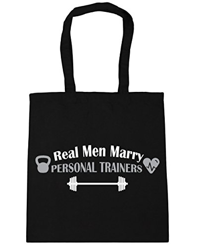 hippowarehouse Real Men Marry Persönlichen Trainern Tote Shopping Gym Beach Bag 42 cm 38 38, 10 Liter Schwarz
