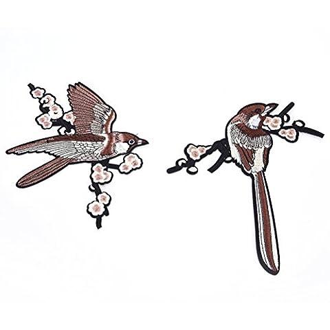 Sevenmye 2pièces Broderie Applique à coudre Patch, Sparrow Bird branches d'arbre Applique