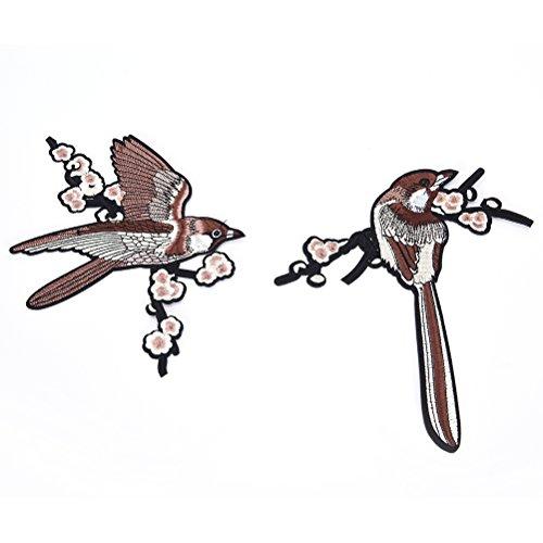 SevenMye 2 St¨¹ck Stickerei Applique N?hen Auf Patch, Sparrow Vogelbaum Zweige Applique (Gel Gestickt)
