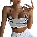 MSSweet-Camisola de Las Mujeres Camuflaje Estampado de sin Mangas Tank Top Bustier Bra Chaleco Crop Top Blusa Camiseta Slim Fit Ocio La Moda Ropa Primavera y Verano