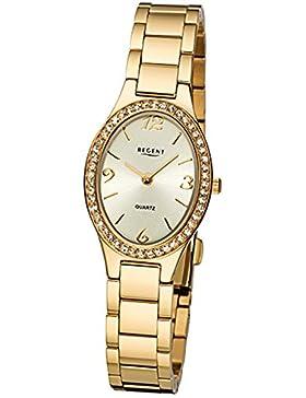 Regent Damen-Armbanduhr Elegant Analog Edelstahl-Armband gold Quarz-Uhr Ziffernblatt gold URF1067