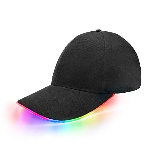 jiguoor LED Kappe Basecap Schildmütze Einstellbarer Hut Baseball Blitz Käppi mit LEDs Blinkt für Party Club Bar Reise Sport Golf Hip-Hop LED-Beleuchten LED-Taschenlampen Hüt