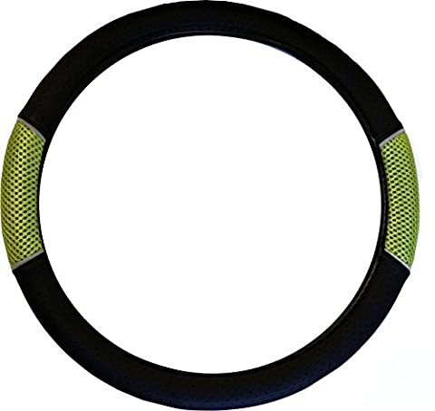 XtremeAuto® Black Leather With Green Mesh Grip - Includes XtremeAuto Sticker