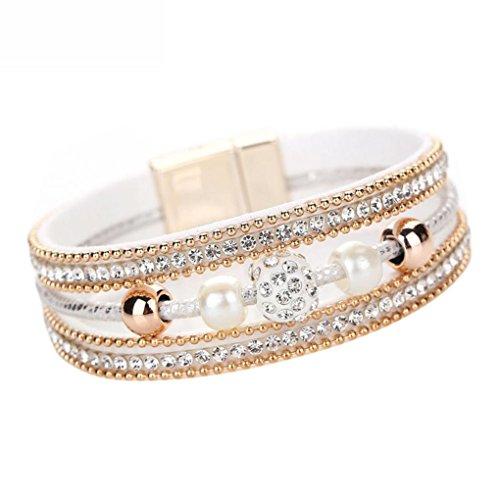 Armband Damen Armbänder DAY.LIN Frauen Multilayer Armreif Armband Kristall Perlen Leder Magnetic Armband - Silber Frauen Sterling Uhren