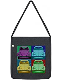 Top Quality 'Recycled' VW Pop Art Shopper Tote Sling Bag Dark Grey