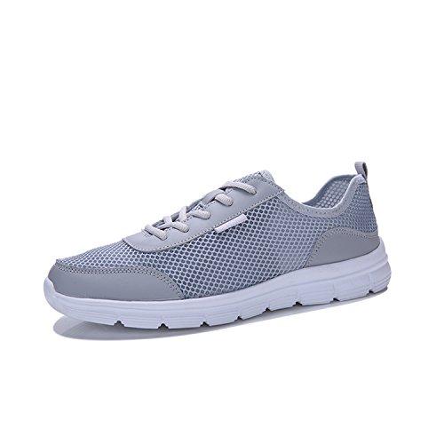 Freizeit Schuhe Mesh Atmungsaktive Laufschuhe Ultraleicht Sommer Sneakers Outdoor Sport Schnürsenkel Running Schuhe Damen Herren (Grau Größe 37)