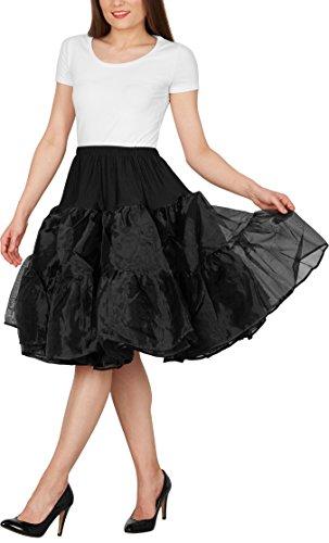 Black Butterfly 25″ Rockabilly Petticoat 1950er-Jahre Komplett aus Satin-Organza Tellerrock (Schwarz, EUR 36 – 42) - 5