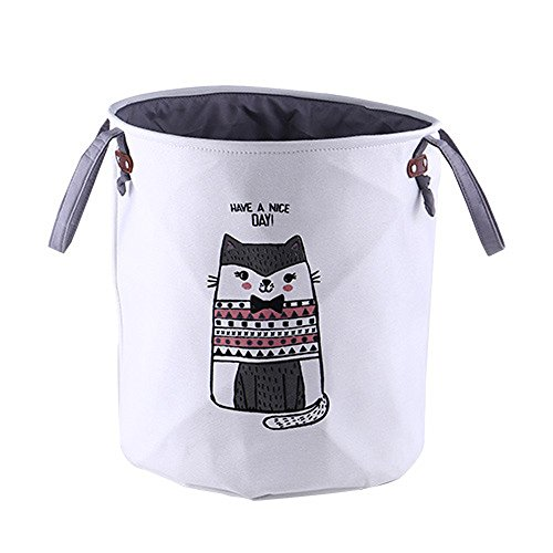FengHui Cartoon Tiere Ablagekorb Baby Spielzeug Lagerung Wäschekorb Stilvolle Doppelschicht Leinwand Lagerung Hamper Runde Wäschekorb Dicker Beutel -