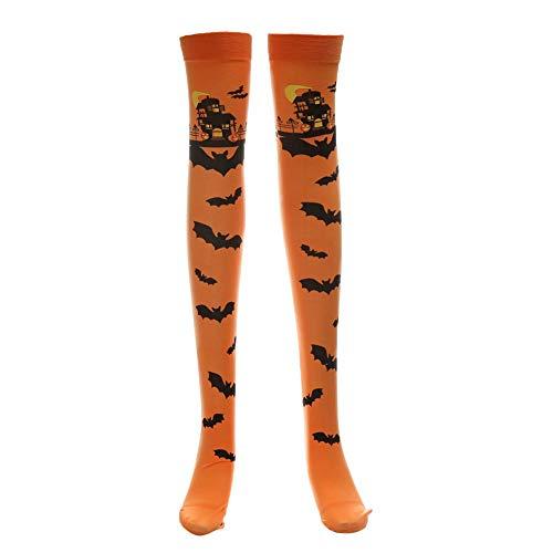 MAYOGO Halloween Deko Damen Strümpfe Damen Overknee Sexy Schmale Passform Kniestrümpfe mit Fledermaus Retro Schloss Printing -