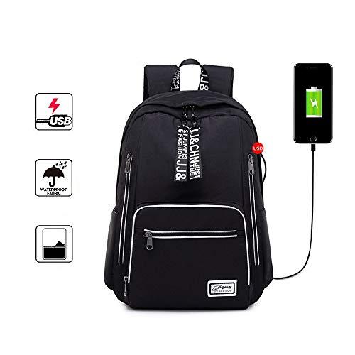 Schwarz Passt Grau (NEWBAG Mode Laptop-Rucksack Mit USB-Ladeanschluss Große Kapazität Lässige Unisex-Klassiker Wasserdicht Schulrucksack Schwarz/Grau/Pink Student Rucksack Passt 16-Zoll-Laptop-Reise-Rucksack)