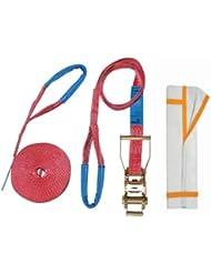 Slackstar SL81796-15/35 - Kit para práctica de slackline para principiantes (2 unidades, con funda protectora), color rojo