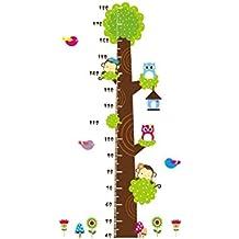 Papel pintado, diseño de búhos Mono Árbol de Dibujos Animados Adhesivo de Pared Medidor de altura para niños extraíble Mural DIY Decor
