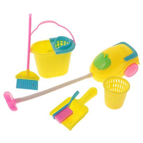 MagiDeal 6Pcs Mini Reinigung Werkzeuge Set - Puppenhaus Möbel - Besen, Schaufel, Löffel, Papierkorb, Staubsauger, Bürste