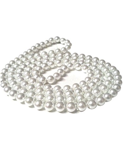 Plastic White Beads Necklace for Madonna Look