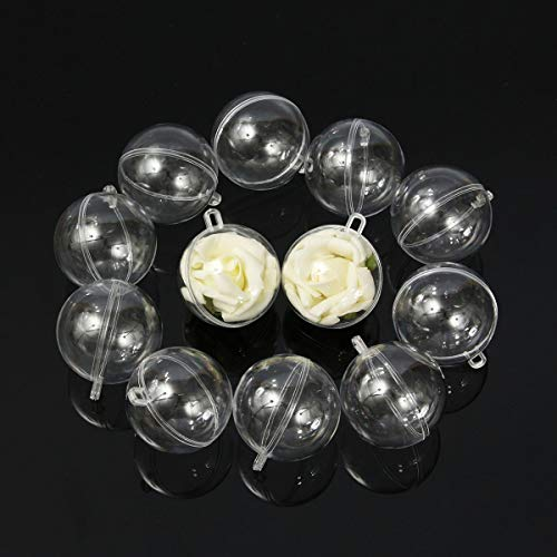 TuToy 12pcs 60mm Clear Plastic Fillable Ball Xmas Ornament Great Kid Craft Project Decorations