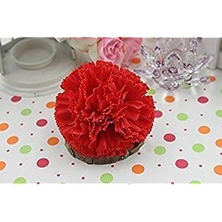 Clavel Artificial flor de seda cabeza Pack de 50para boda DIY trabajo (rojo)
