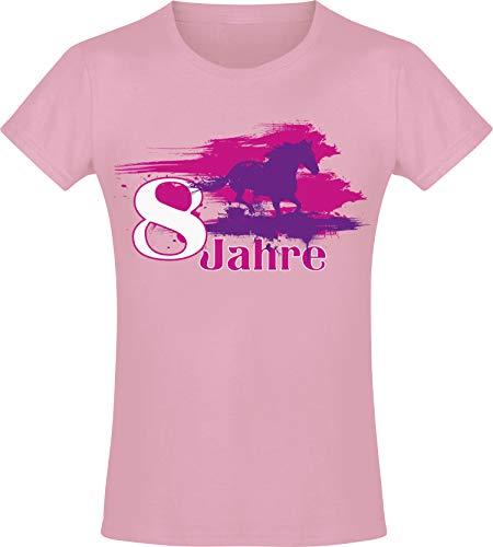 Mein Geburtstagspferd 8 Jahre -Mädchen T-Shirt - Jahrgang 2016 - Geburtstag-s Shirt Pferd - Kinder - Geschenk-Idee - Geburtstag - Reiten Pony - Horse-Girl - Pink Rosa - Niedlich (140)
