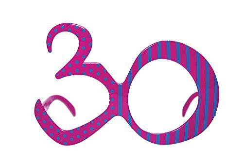 jakopabra Lustige Party-Brille zum runden Geburtstag (Fuchsia 30)