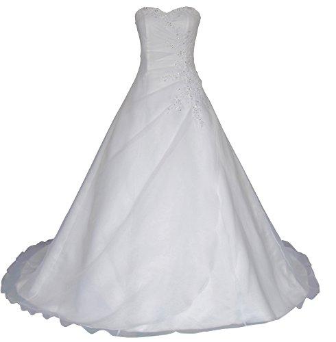 Romantic-Fashion Brautkleid Hochzeitskleid Weiß Modell W025 A-Linie Lang Satin Trägerlos Perlen...