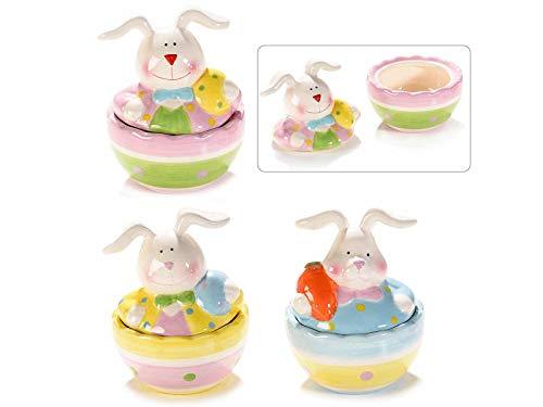 Ideapiu 6 contenitore a coniglio pasquale in ceramica colorata