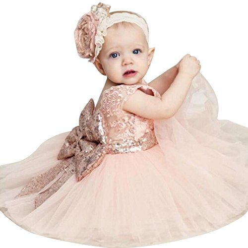 Highdas 2017 Mädchen Bowknot Spitze Prinzessin Rock Sommer Sequins Kleider für Baby Kleinkinder Kinder 0-5 Jahre alt rosa / (Kleid Fairy Baby)