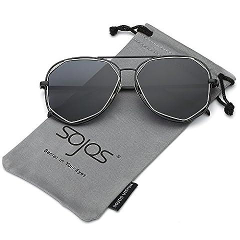 SojoS Fashion Metal Frame Flat Mirrored Lens Sunglasses With Black Frame/Grey Lens
