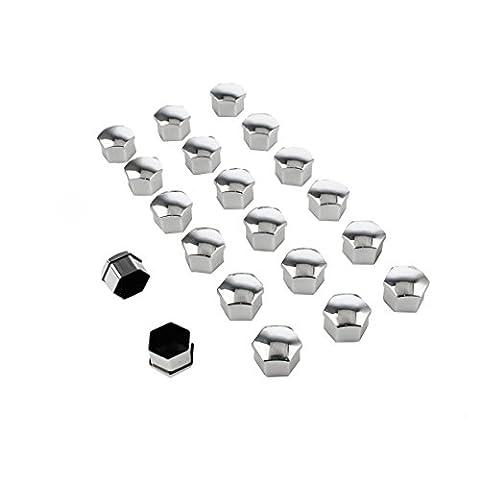 beishuo 20Stück 19mm Universal Kunststoff silber Lug Mutter Lug Schraube Kappen Mutter Protectors für KFZ (20 Chrome Locking Radmuttern)