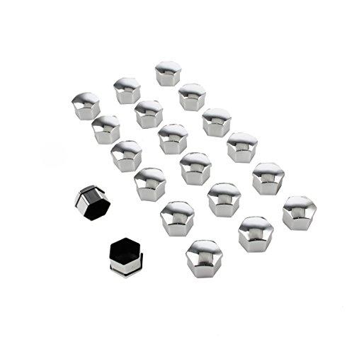 BEISHUO Lot de 20 capuchons de 19 mm, en plastique universel, protection pour écrou de roue, couleur argent pour pneu de voiture.