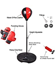 Denny International Kids Children Adjustable Height Free Standing Junior Boxing Punch Ball With Punching Gloves Set