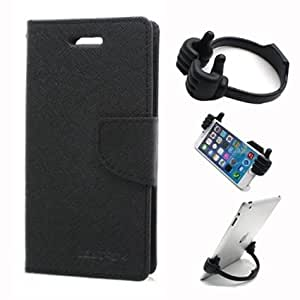 Aart Fancy Wallet Dairy Jeans Flip Case Cover for MeizumM2 (Black) + Flexible Portable Mount Cradle Thumb OK Designed Stand Holder By Aart Store.