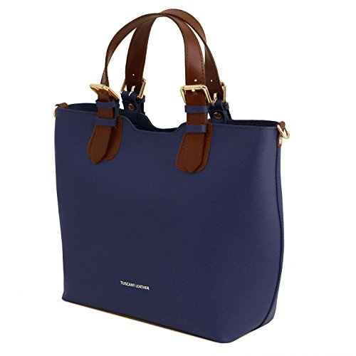 Tuscany Leather TL Bag Borsa a mano in pelle Saffiano - TL141696 (Giallo) Blu scuro